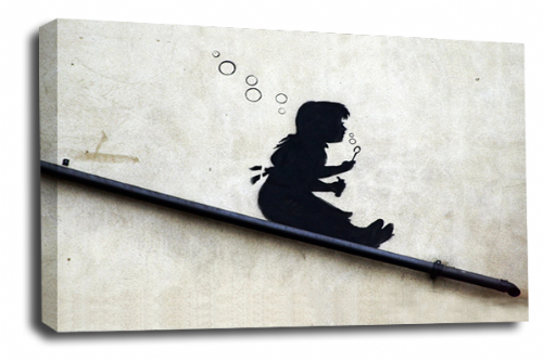 Banksy Art Bubble Girl Canvas Wall Art Peace Love Picture Print